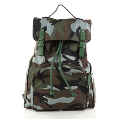 Valentino Top Flap Backpack Camo Nylon Large Green 2825204