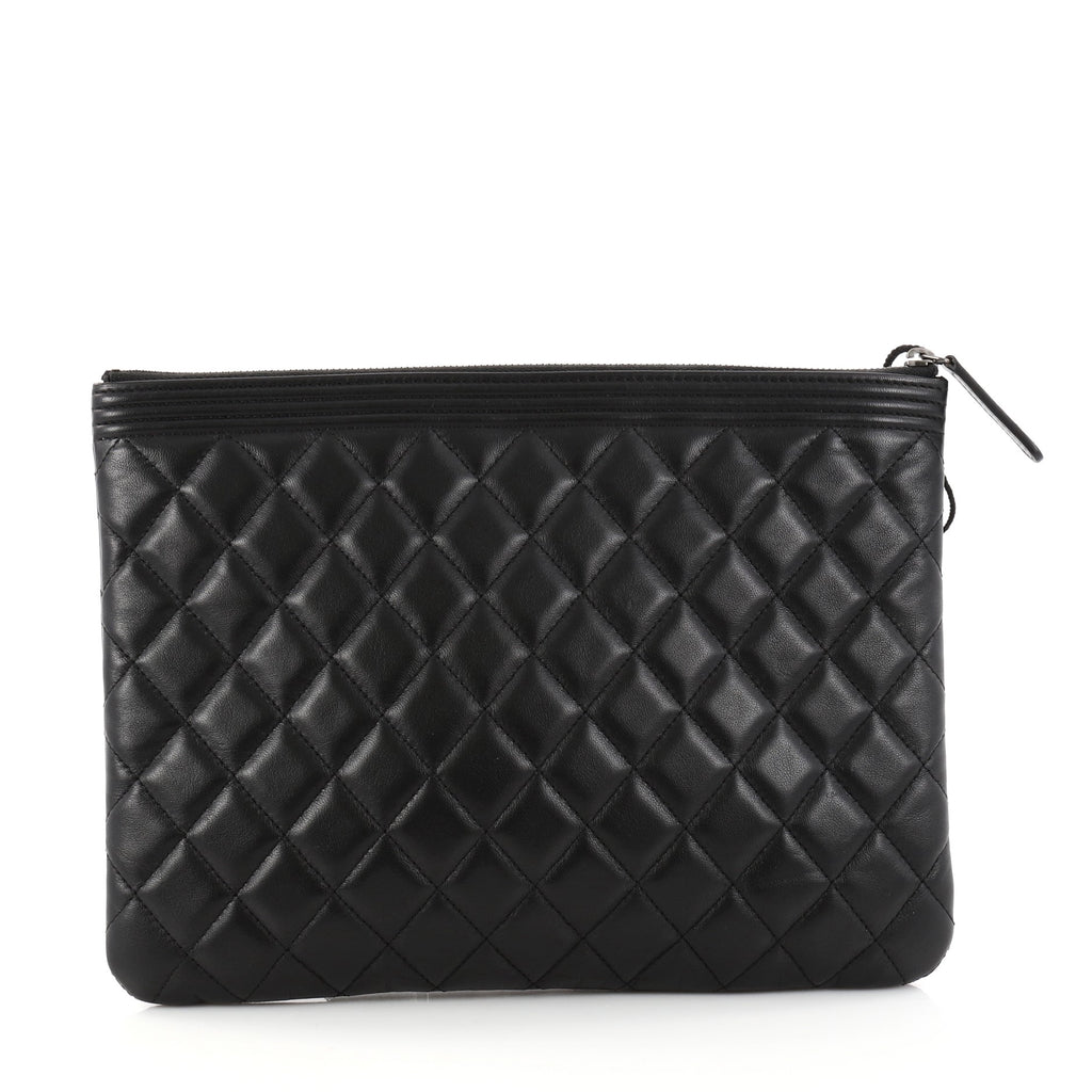 453ea14f9979 Buy Chanel Boy Pouch Quilted Lambskin Medium Black 2825303 – Rebag