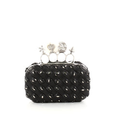Alexander McQueen Knuckle Box Clutch Woven Leather Small 2825431