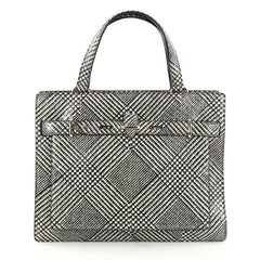 Salvatore Ferragamo Front Pocket Tote Printed Python Medium Black 2827401