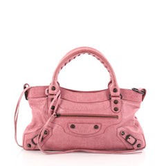 Balenciaga First Classic Studs Handbag Leather Pink 2828104