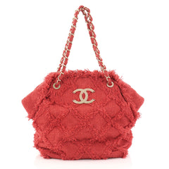 Chanel Nature Tote Quilted Tweed Red 2829203
