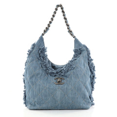 Chanel Chain Hobo Fringe Quilted Denim Medium Blue 2829603