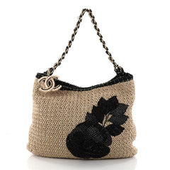 Chanel Coco Country Camellia Tote Woven Straw Large 2829703