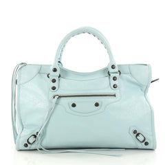 Balenciaga City Classic Studs Handbag Leather Medium Blue 2829805