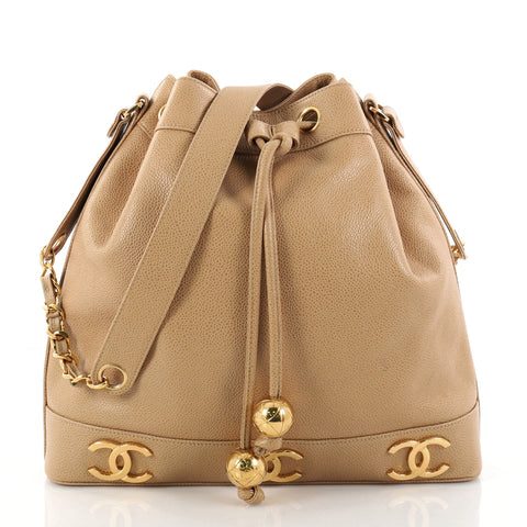 c9b22989d5e836 Buy Chanel Vintage CC Drawstring Bucket Bag Caviar Medium 2832003 – Rebag