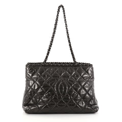Chanel Chain Me Tote Quilted Glazed Calfskin Medium Gray 2832402