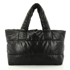 Chanel Coco Cocoon Reversible Tote Quilted Nylon Medium Black 2832403