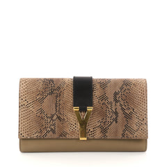 Saint Laurent Chyc Clutch Python and Leather Brown 2832802