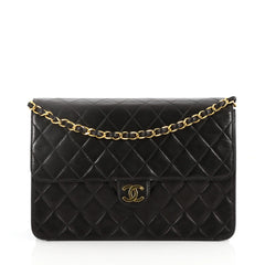 Chanel Vintage Clutch with Chain Quilted Leather Medium Black 2833901