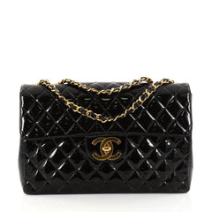 Chanel Vintage Square Classic Single Flap Bag Quilted Patent Maxi Black 2835004