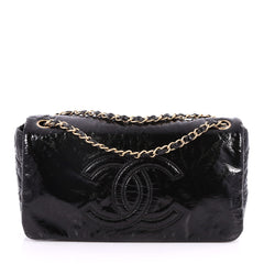 Chanel Rock and Chain Flap Bag Patent Vinyl Medium Black 2835008
