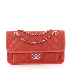 Chanel French Riviera Flap Bag Quilted Caviar Medium Red 2835009