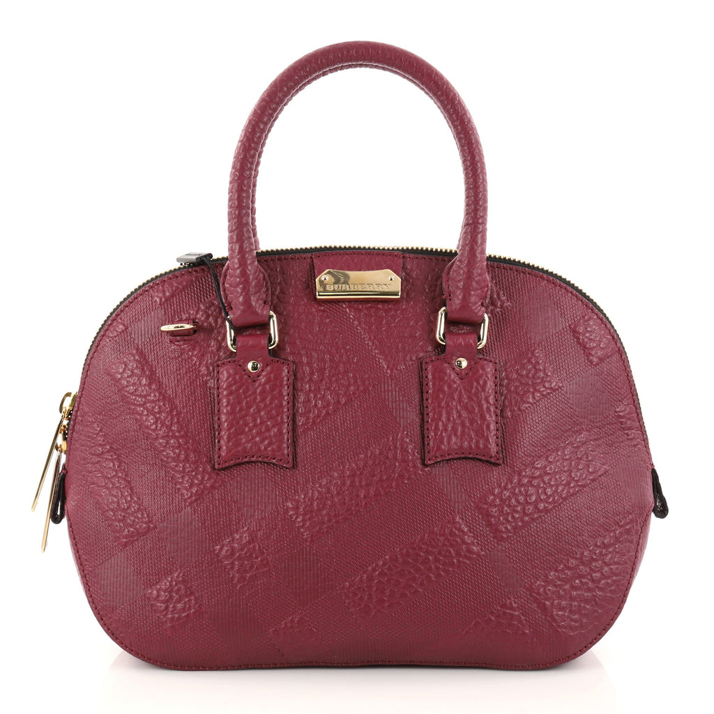 0a82b8f5c07 Buy Burberry Orchard Bag Embossed Check Leather Small Purple 2837204 ...