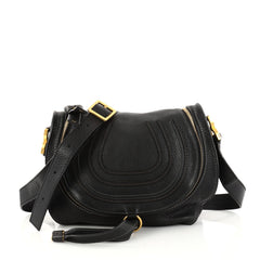 Chloe Marcie Zip Crossbody Bag Leather Medium Black 2837206