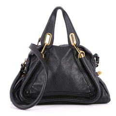 Chloe Paraty Top Handle Bag Leather Medium Black 2837403