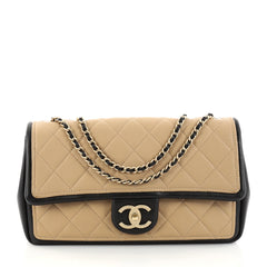 Chanel Graphic Flap Bag Quilted Calfskin Medium Neutral 2837502