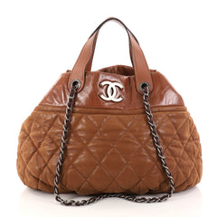 Chanel In The Mix Tote Quilted Iridescent Calfskin Large Brown 2837803