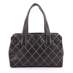 Chanel Surpique Tote Quilted Leather Medium Black 2837901