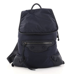 Balenciaga Classic Traveller Backpack Nylon with Leather Blue 2839301