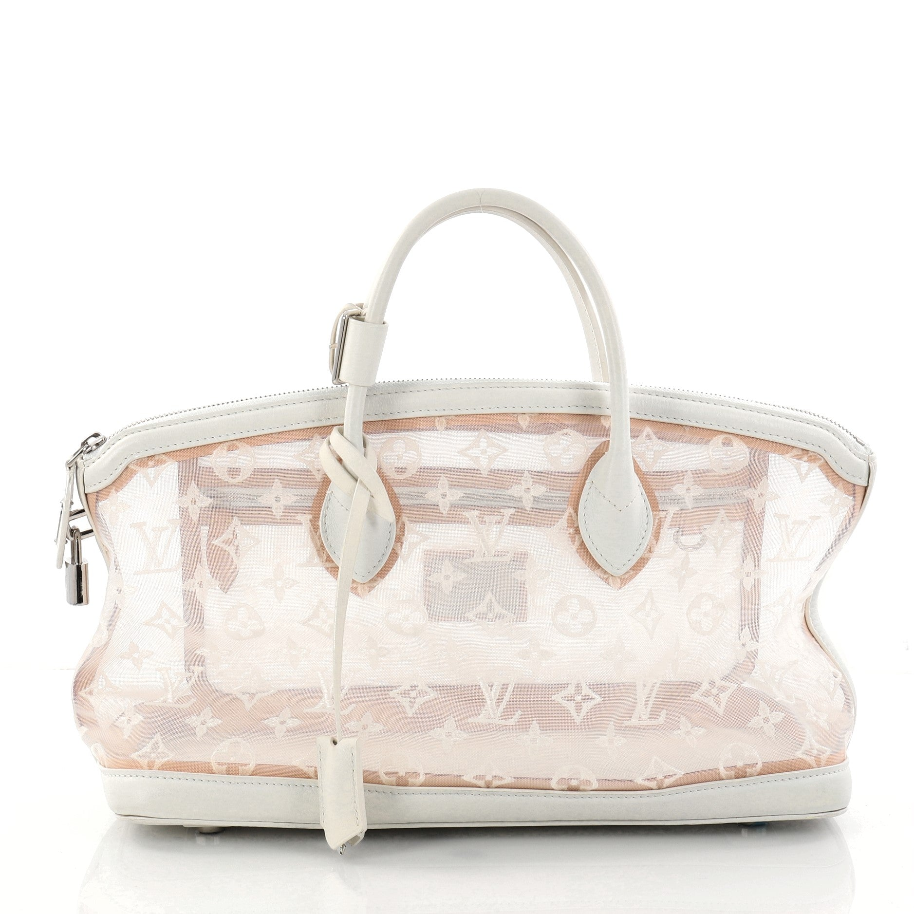 Transparence Lockit Handbag Mesh and Leather East West