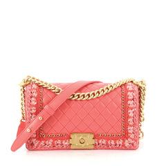 Chanel Jacket Boy Flap Bag Quilted Lambskin with Tweed Old Medium Pink 2842901
