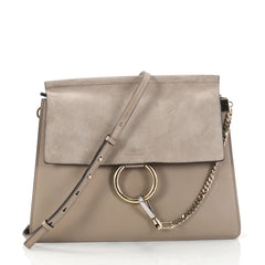 Chloe Faye Shoulder Bag Leather and Suede Medium Brown 2844802