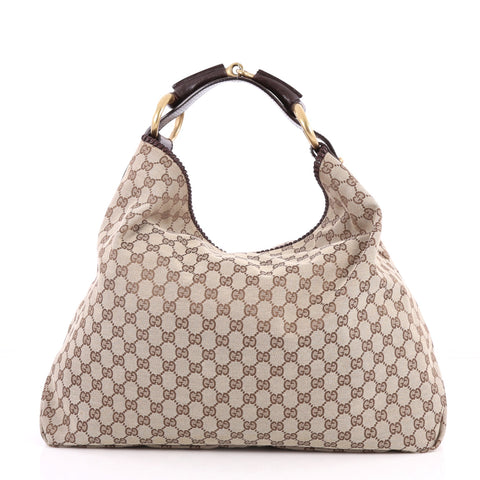 3d47d760e30e74 Buy Gucci Horsebit Hobo GG Canvas Large Brown 2846003 – Rebag