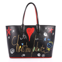 Christian Louboutin Cabata East West Tote Printed Leather Large Black 2850201