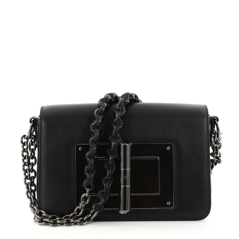 b64232c0a1ab Buy Tom Ford Natalia Chain Shoulder Bag Leather Small Black 2850801 – Rebag