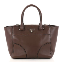 Prada Twin Pocket Tote Stitched City Calfskin Small Brown 2853403