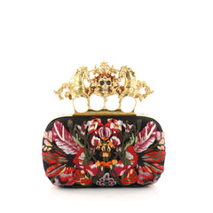 Alexander McQueen Unicorn Skull Knuckle Box Clutch Embroidered Mesh Small Black 2855401