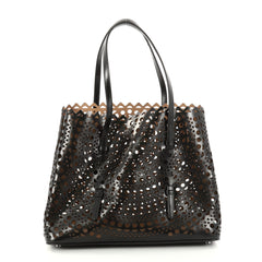 Alaia Open Tote Laser Cut Leather Medium Black 2856201