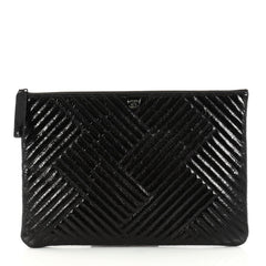 Chanel CC Crossing Clutch Chevron Patent Large Black 2856202
