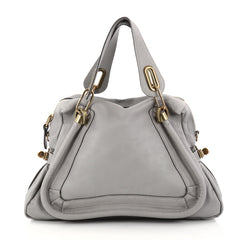 Chloe Paraty Top Handle Bag Leather Medium Gray 2856203