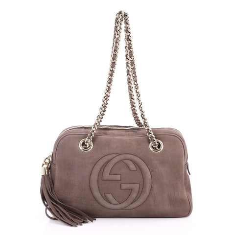 4fd70e81024e Buy Gucci Soho Chain Zipped Shoulder Bag Nubuck Small Brown 2859304 – Rebag