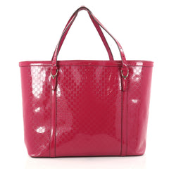 Gucci Nice Tote Patent Microguccissima Leather Medium Pink 2860105