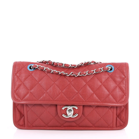 817af9048b Buy Chanel French Riviera Flap Bag Quilted Caviar Medium Red 2863301 – Rebag