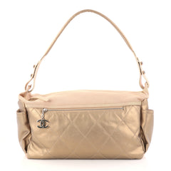 Chanel Biarritz Hobo Quilted Coated Canvas Large Neutral 2869303