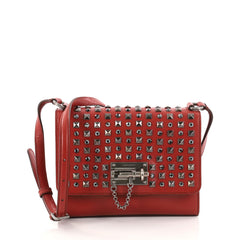 Dolce & Gabbana Monica Crossbody Bag Studded Leather Small Red 2870102