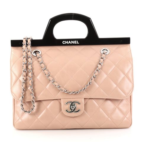 6abf8cce96f643 Buy Chanel CC Delivery Tote Quilted Glazed Calfskin Small 2871401 – Rebag