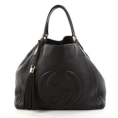 Gucci Soho Shoulder Bag Leather Medium Black 2876101