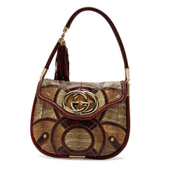 Gucci Britt Flat Shoulder Snake Patchwork Bag Medium