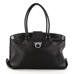 Salvatore Ferragamo Convertible Soft Sofia Tote Leather Large Black 2880301