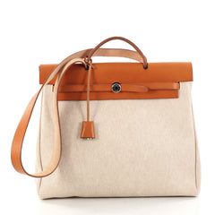 Hermes Herbag Toile and Leather MM Brown 2883001