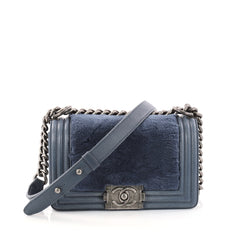 Chanel Boy Flap Bag Fur with Leather Small Blue 2883601