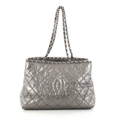 Chanel Chain Me Tote Quilted Calfskin Medium Gray 2883801