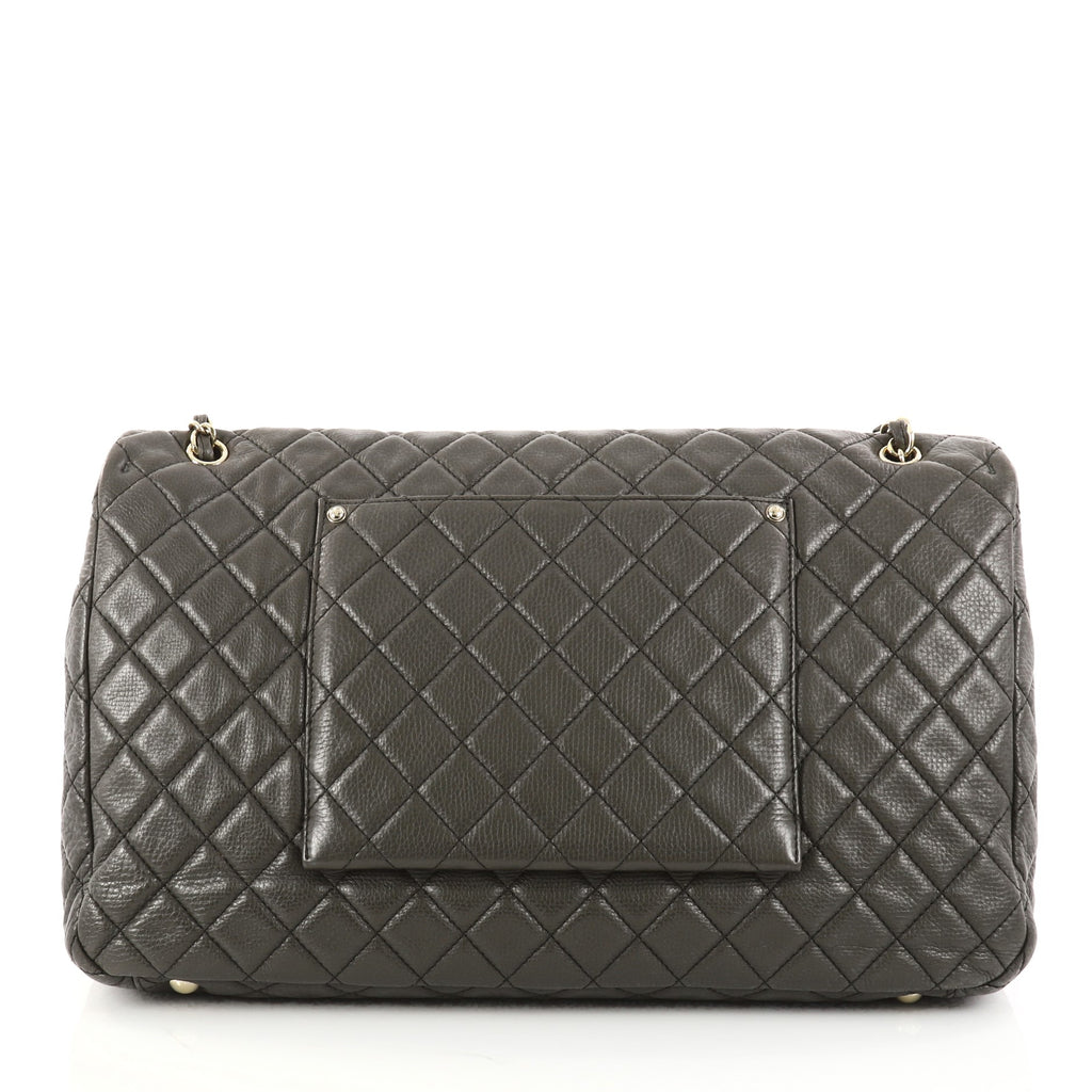 9ee91b69401e Buy Chanel Airlines CC Flap Bag Quilted Calfskin XXL Green 2888501 ...