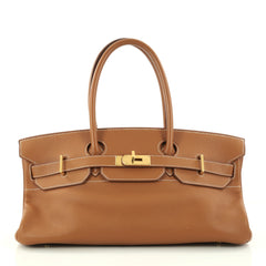 Hermes Birkin JPG Handbag Brown Clemence with Gold 2891001