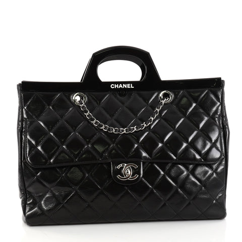 4572082ebc6538 Buy Chanel CC Delivery Tote Quilted Glazed Calfskin Large 2891401 – Rebag